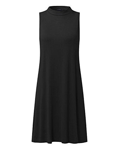 StyleDome Mujer Vestido Mini Corto Playa Verano Sin Mangas Cuello Redondo Cóctel Oficina Noche Negro XL
