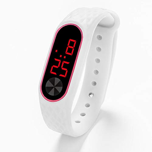 Digital Bracelet Watch, Unisex Smart Wristband LED Display Silica Gel Sports Watch Silicone Power Saving Electronic Watch 4 Generation (White)
