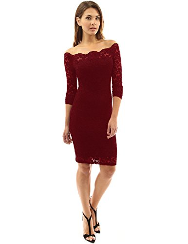 Shoulder Off Crossed Knee Dress Burgundy Women's Length Cocktail Angelstormy Lace Hollow 1ZqawxW