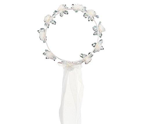 Mozlly White Flower Crown 7 Inch Headwrap-Costume Accessory, Halloween, Ballerina, Dress Up - Item #110057