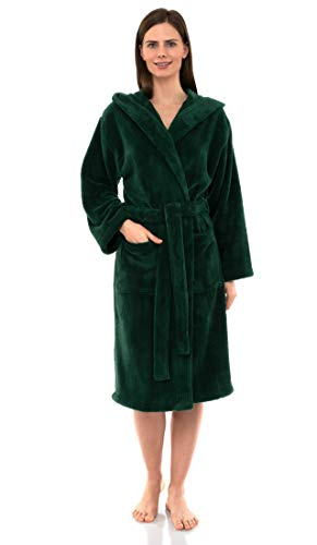 TowelSelections Women's Robe, Plush Fleece Hooded Spa Bathrobe Medium/Large Foliage Green