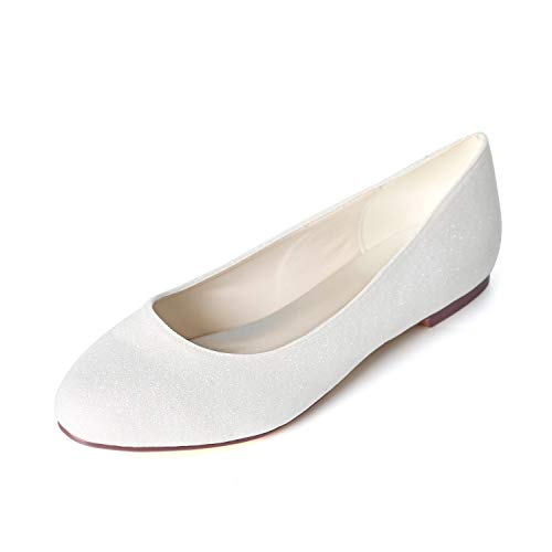 Elobaby Women Wedding Shoes Dress Fashion Super Chunky Satin Size Summer Flat Closed Toe Slingback SD-45 /1cm Heel, White, 44