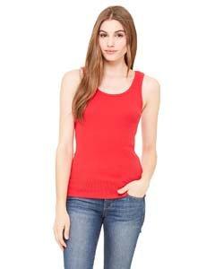 Cotton 2x1 Rib Tank Top - Bella Ladies Combed Ringspun Cotton 2x1 Rib Tank Top - Red - Large
