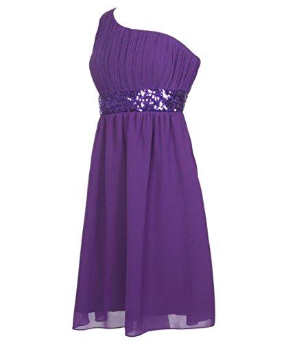 Beaded Damen Kurz Waist Fanciest Shoulder Green Purple One Chiffon Brautjungferkleider wB17qI