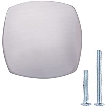 AmazonBasics Agarradera cuadrada redondeada para gabinete, 3.2 cm de diámetro, níquel satinado, paquete de 10