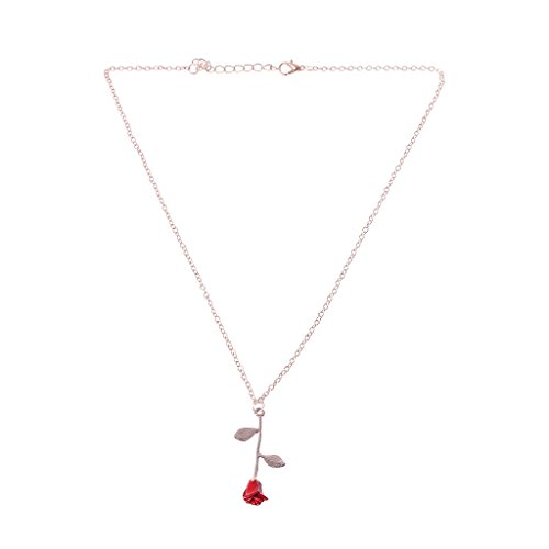 Richi 8K Beauty and Beast Golden Filled 3D Red Rose Pendant Necklaces for Women Jewelry (Rose-Gold) (Beauty And The Beast Rose Necklace Gold)