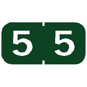 Tabbies Tab Products Compatible Numeric Labels '#5' (Dark Green)