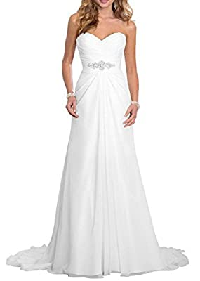 SOLOVEDRESS Women's Sweetheart Beaded Pleat Chffion Beach Wedding Dresses A Line Bridal Gown
