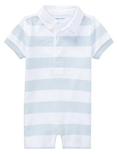 RALPH LAUREN Baby Boys Striped Cotton Rugby Shortall (12 Months, Beryl Blue/White) ()