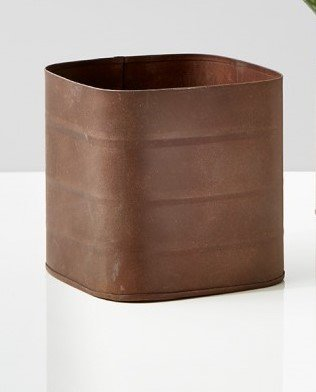 Serene Spaces Living Rust Zinc Cube Vase, Country Style Vase, Measures 4.25'' x 4.25''x 4.25''