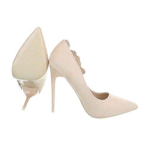 Beige Hs61 Tacón Altos de Zapatos Zapatos de Ital Tacon Tacones Aguja para Design Mujer qOUX7Z