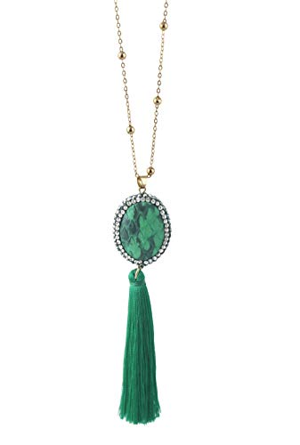 Zoomnovo Green Long Tassel Necklace for Women Girl Fashion Casual & Formal Pendant Jewelry Gold Tone 1 Piece (Casual Green Necklace)