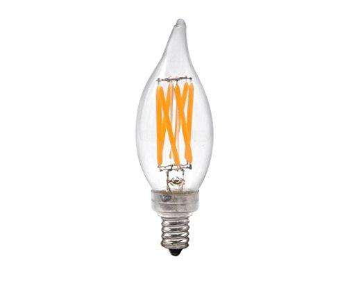 Brite Innovations 5-Watt = 60W Equivalent LED Filament Candelabra / Chandelier Light Bulb-Dimmable-Soft White 3000K-Flame Tip ENERGY STAR & UL LISTED