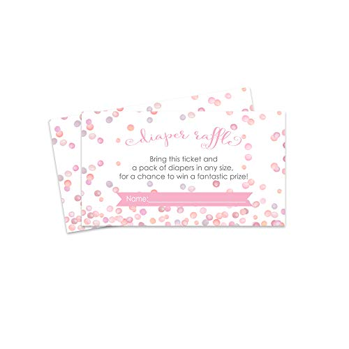 Pink Confetti Diaper Raffle Card - Baby Shower Game - Set of 25