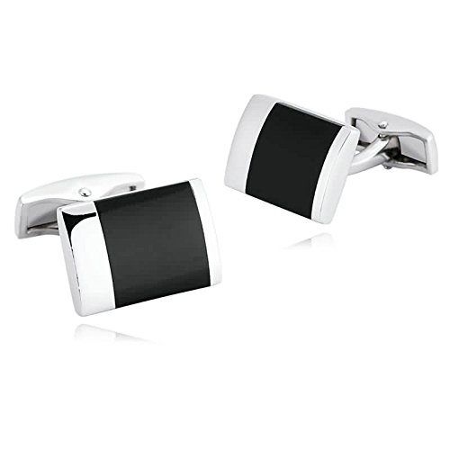 Gnzoe Men Stainless Steel Silver Black Agate Gemstone Shirt Cufflinks with Gift - Mall Morrow