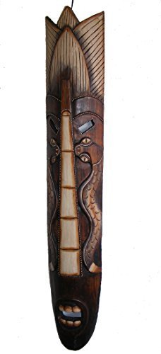 Grande Comercio Justo Talla A Mano Estilo Indígena Africano Tribal Borneo Pincho Máscara 102