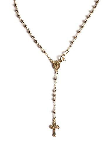 "LUXURYGOLD 18k Gold Over Solid 925 Sterling Silver Italian Rosary 20"" Long 3mm-beads/Rosario de Plata Con 18k Bano de Oro 20"