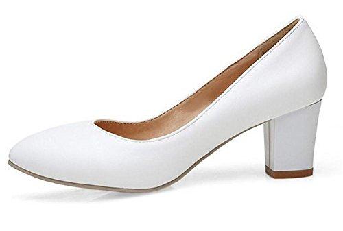 XIE E Shallow Primavera bocca Scarpe tacco'S 37 con pattini lavoro di a white donne punta spessi WHITE delle autunno 39 Scarpe Court r8wqtB8