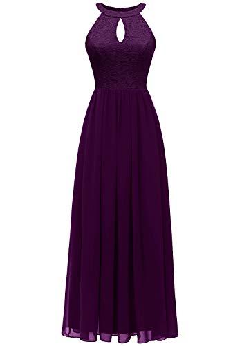 Dressystar 0048 Halter Long Formal Maxi Party Dress Evening Prom Dress L Grape