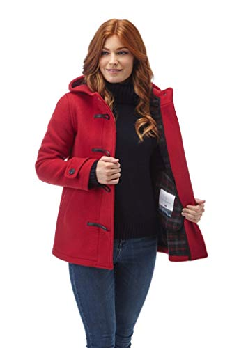Women's Leyton Classic Short Duffle Coat Horn Toggles Red-M