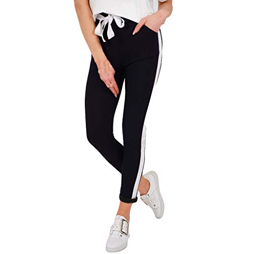 VEZAD Women's Stripe Stitching Bowknot Running Tightly-Fitting Casual Yoga Pants Leggings