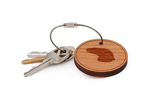 Komodo Dragon Keychain, Wood Twist Cable Keychain - Small