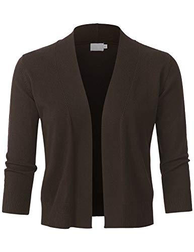 (JSCEND Womens Classic 3/4 Sleeve Open Front Cropped Bolero Cardigan Brown M)