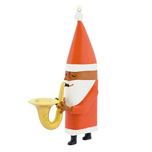 Hallmark African-American Jazz Santa with Saxophone Ornam...