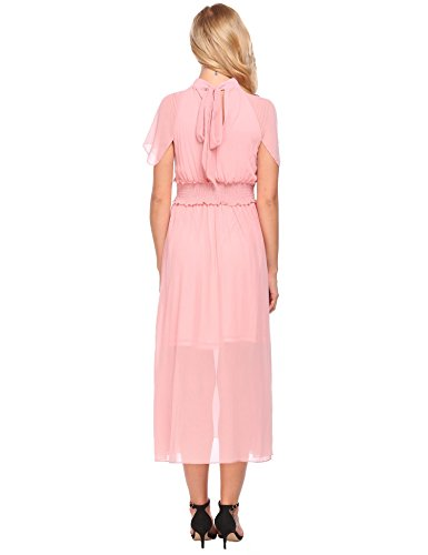 line with Loose Vintage Halter A ACEVOG Pink Women's Dress Pleated Belt Chiffon qBxHwzU5Xz