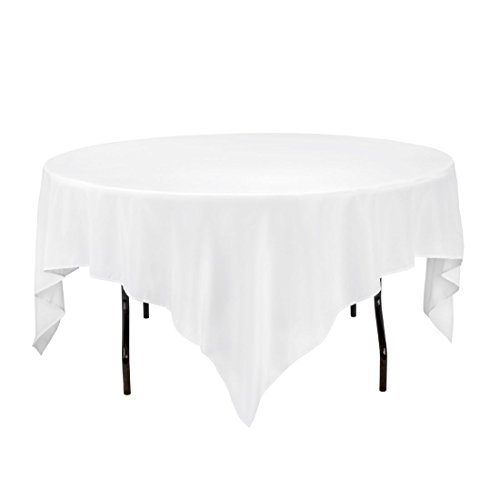 Gee Di Moda Square Tablecloth - 85 x 85 inch - White Square Table Cloth Square Round Tables in Washable Polyester - Great Buffet Table, Parties, Holiday Dinner, Wedding & (Kitchen Square Table)