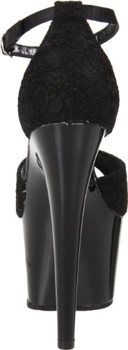 Pleaser Women's Adore-768 Heels Sandals Black (Blk Satin-blk Lace/Blk) 641tURuMW