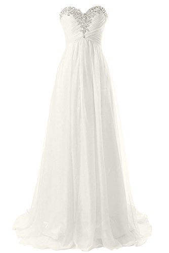 JAEDEN Strapless Beach Wedding Dresses Simple Bride Dress Chiffon Gown Ivory US12