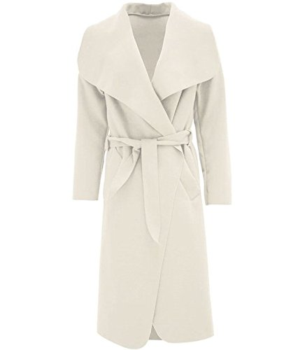 Womens Celebrity Inspired Oversized Waterfall Front Long Belted Coat- One Size USA 4-121 (Cream)