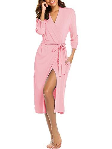 - BLUETIME Womens Robe Knit Bathrobe Sleepwear Loungewear Lightweight Kimono Robes Long (S, Pink)