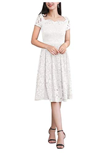 Abetteric Womens Luxury Lace Hollow Out Solid Bateau Neck Tunic Top Dress White S