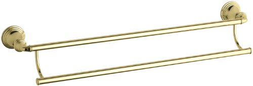 Bar Bath Eden - KOHLER K-10553-PB Devonshire 24-Inch Double Bathroom Towel Bar, Vibrant Polished Brass