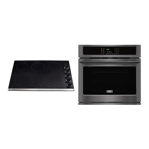 Frigidaire Gallery 2-Piece Black Stainless Steel Kitchen Package wtih FGEW3065PD 30″ Single Wall Oven and FGEC3067MB 30″ Electric Cooktop