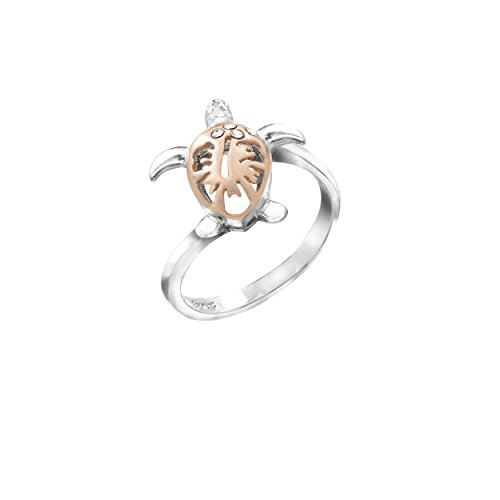 (Honolulu Jewelry Company Two-Tone Sterling Silver Turtle and Hibiscus Ring with CZs and Rose Gold Finish, Size 8)