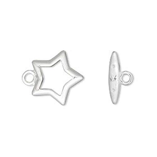 - 10 Sets Medium Silver Plated Brass Star Toggle Clasps / 15Mm Star