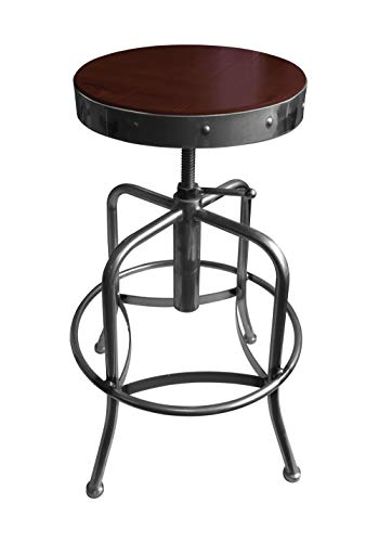 Holland Bar Stool Industrial Adjustable Screw Stool with Clear Coat Finish & Distressed Wood Seat, Dark Cherry