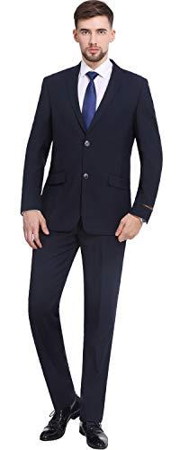 - P&L Men's 2-Piece Two Button Slim Fit Suit Blazer Jacket Flat Front Pants Set Navy