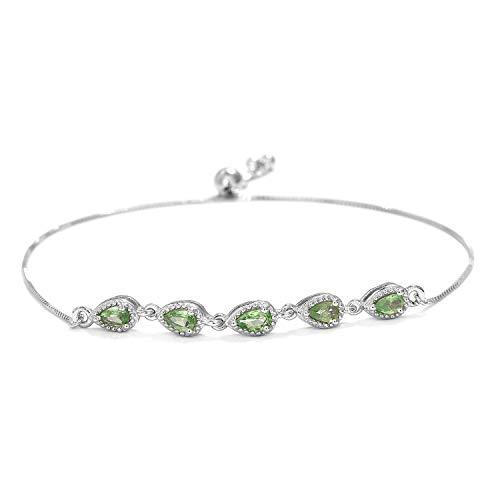 925 Sterling Silver Platinum Plated Pear Mint Garnet Bolo Tennis Bracelet for Women Cttw -