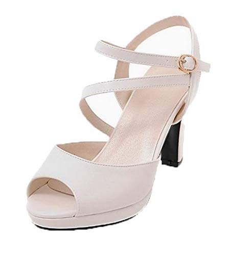 VogueZone009 Women Pu Buckle Open-Toe High-Heels Solid Sandals, CCALP015387 White