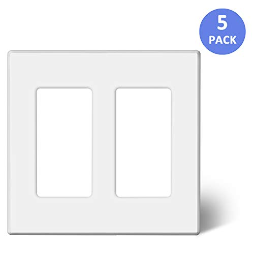BESTTEN [5 Pack] 2-Gang Screwless Wall Plate, USWP2 Elegance White Series, Standard Outlet Cover for Light Switch, Dimmer, Sensor, Timer, and Receptacle, Residential and Commercial, UL Listed ()
