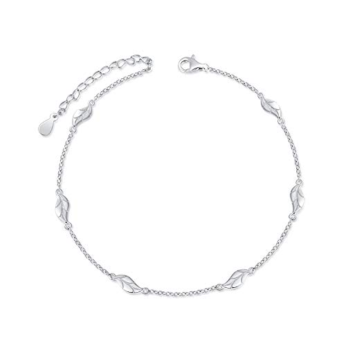 FREECO S925 Sterling Silver Anklet for Women Girl Adjustable Beach Style Foot Ankle Bracelet Jewelry (Leaf Anklet)