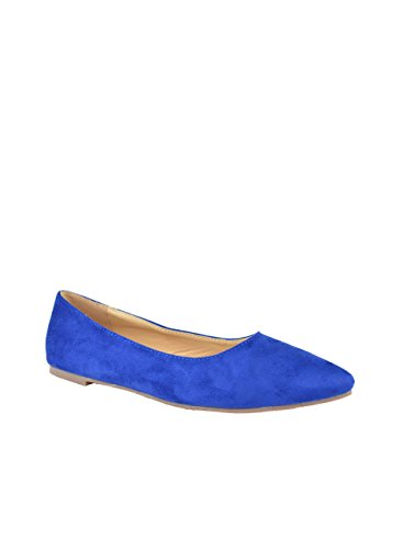 Chase & Chloe Dalena-2 Classic Round Toe Flat Ballet Royal Blue Suede 5OMgX