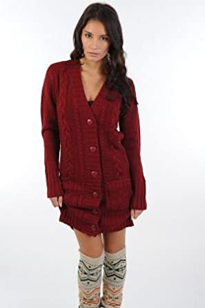 Womens Longline Cable Cardigan: Amazon.co.uk: Clothing