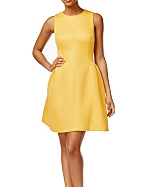 Calvin Klein Women's Petite Textured Pleated Dress Yellow 10P