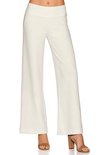 Boston Proper Women's Wrinkle-Resistant Solid Color Knit Palazzo Pant Ivory Coast Large