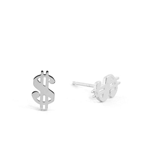 Sterling Silver DOLLAR SIGN Stud Earring (Silver)